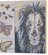 The Lion And The Butterflies Wood Print