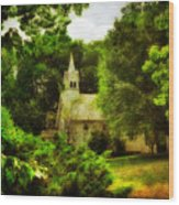 The Little Church On The Corner Wood Print
