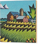 The Little Farm On The Grassy Hill Wood Print