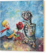 The Little Prince And E.t. Wood Print