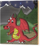 The Little Red Dragon Wood Print