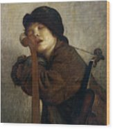 The Little Violinist Sleeping Wood Print