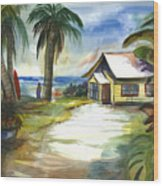 The Little Yellow Beach House Wood Print