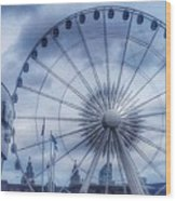 The Liverpool Wheel In Blues Wood Print