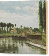 The Lock At Pontoise Wood Print