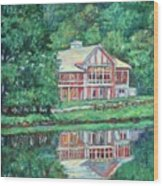 The Lodge At Peaks Of Otter Wood Print by Kendall Kessler