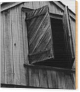 The Loft Door In Black And White Wood Print