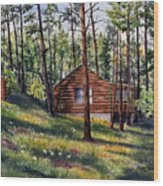 The Log Cabin Wood Print
