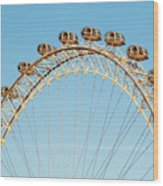 The London Eye Ferris Wheel Against A Cold Blue Winter Sky Wood Print
