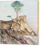 The Lone Cypress-monterey Ca Wood Print