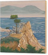 The Lone Cypress Tree Wood Print
