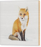 The Lone Fox Wood Print