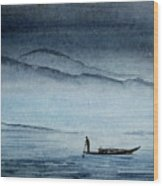 The Lonely Boat Man Wood Print