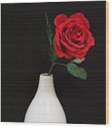 The Lonely Red Rose Wood Print