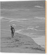 The Lonely Surfer Dude Wood Print