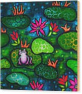 The Lonesome Frog Wood Print by Brenda Higginson
