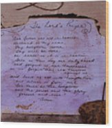 The Lord's Prayer Collage Wood Print