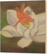 The Lotus And The Dragonfly Wood Print