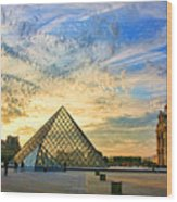 The Louvre At Sunset Wood Print