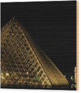 The Louvre Pyramid And The Arc De Triomphe Du Carrousel At Night Wood Print