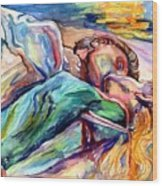 The Lovers Watercolor Wood Print