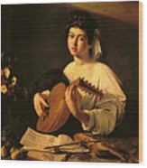 The Lute Player Wood Print