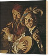 The Lutenist And The Flautist Wood Print