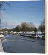 The Macclesfield Canal At Poynton In Winter And Frozen  Cheshire England Wood Print