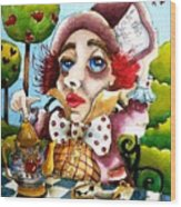 The Mad Hatter Wood Print by Lucia Stewart
