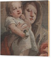 The Madonna And Child With A Goldfinch Wood Print