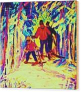 The Magical Skis Wood Print