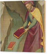 The Magus Hermogenes Casting His Magic Books Into The Water Wood Print