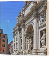 The Majesty Of The Trevi Fountain In Rome Wood Print