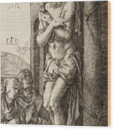 The Man Of Sorrows By The Column With The Virgin And St. John  Wood Print