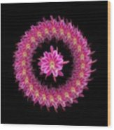 The Mandala Of Pink Tropical Flower Wood Print by Jacqueline Migell