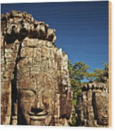 The Many Faces Of Bayon Temple, Angkor Thom, Angkor Wat Temple Complex, Cambodia Wood Print