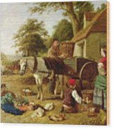 The Market Cart Wood Print