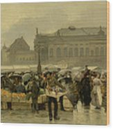 The Market In Antwerp Wood Print