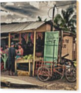 The Market Wood Print