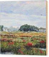 The Marsh In Bloom Wood Print