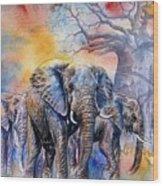 The Masai Mara Elephants Wood Print