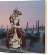 The Masks Of Venice Carnival Wood Print