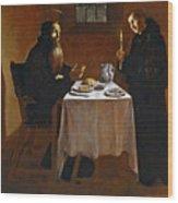 The Meal Of Saint Benedict Of Nurcia Wood Print