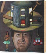 The Mechanic Part Of The Thinking Cap Series Wood Print by Leah Saulnier The Painting Maniac