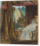 The Meeting Of Antony And Cleopatra By Lawrence Alma-tadema Wood Print
