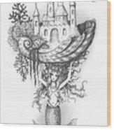The Mermaid Fantasy Wood Print