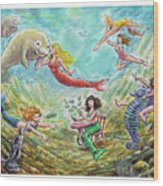 The Mermaids Of Weeki Wachee State Park Wood Print