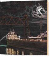 The Michipicoten's Departure Under A Full Moon Wood Print