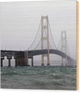 The Mighty Mackinaw Bridge Stands Strong Wood Print