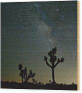 The Milky Way And Joshua Trees Wood Print